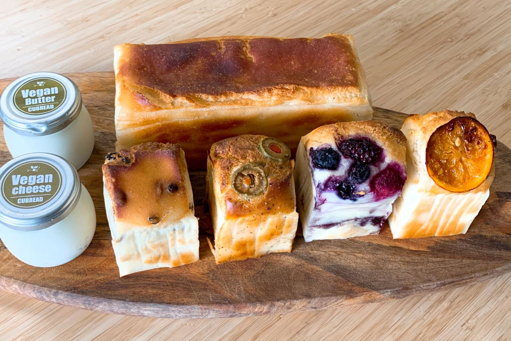 米粉食パン、季節の米粉パン、ビーガンバター / チーズ